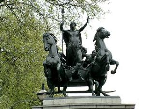 Statue of Boudicca by Thomas Thornycroft near Westminster pier.
