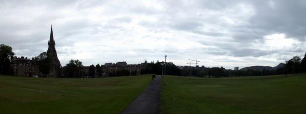 Panoramic photo of Edinburgh skyline from south of the Meadows