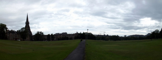 Panoramic photo of Edinburgh skyline from south of the Meadows