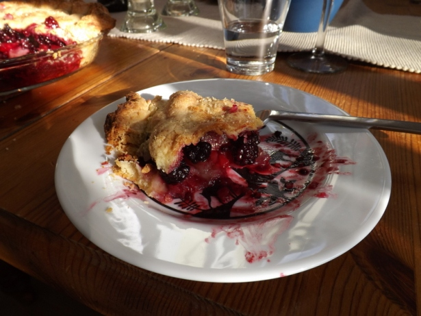 Pear and blackberry pie, first fruits of our new home.