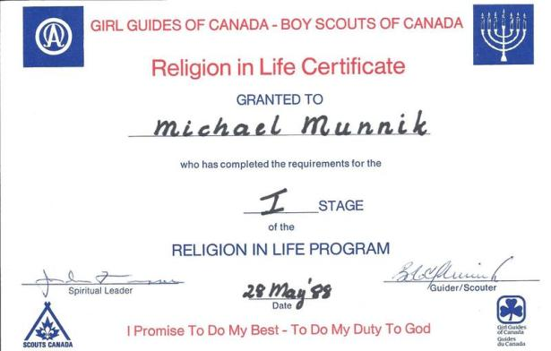 Religion in Life Certificate