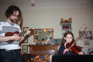 The author on uke and his daughter on violin
