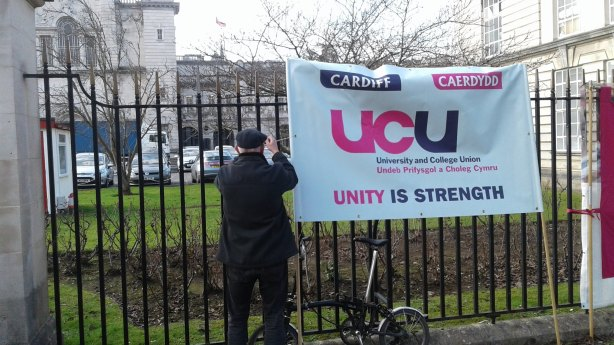 UCU Cardiff sign at picket line