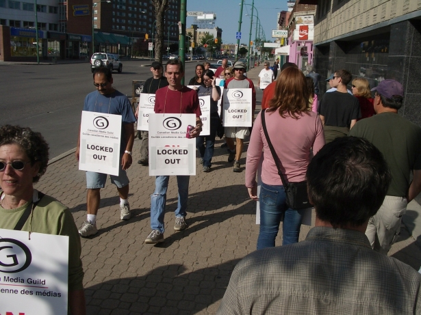 CBC employees locked out in Winnipeg, MB, 15 August 2005