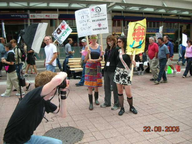 Creative picketers during CBC lockout 2005