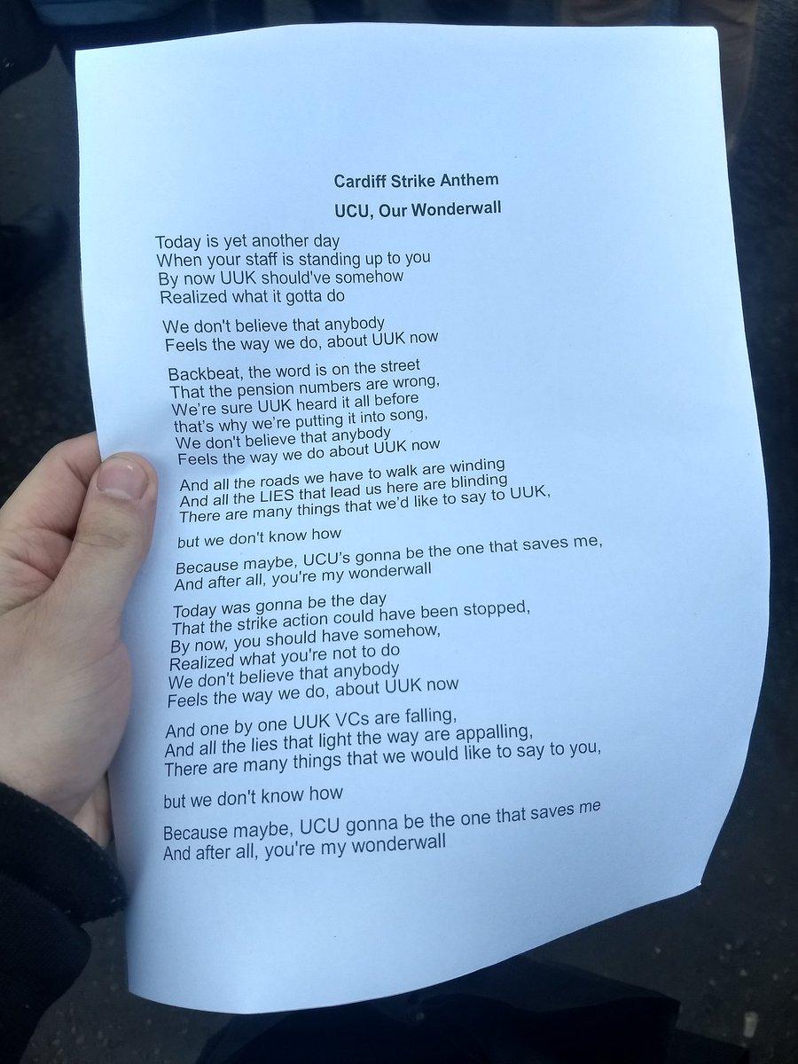 Lyrics to UCU strike version of Wonderwall