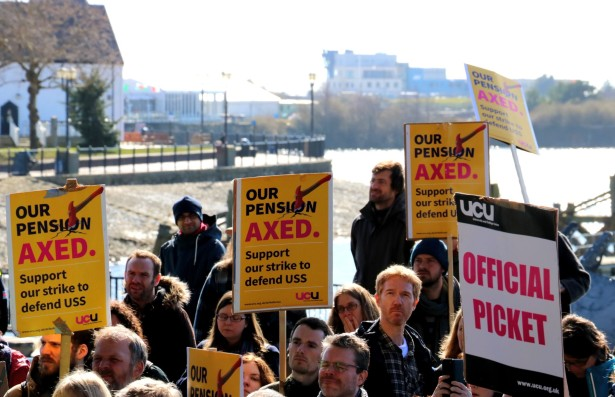 Striking Cardiff UCU members at the Senedd