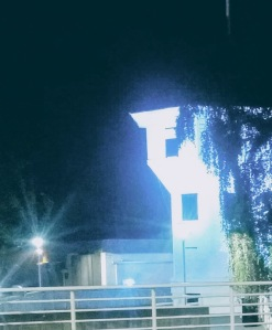 The Bastion, iconic tower in downtown Nanaimo, in exaggerated blue light at night