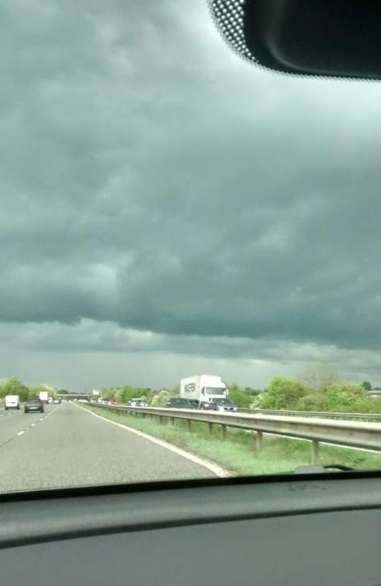 Grim view of cloudy skies and traffic on the M5