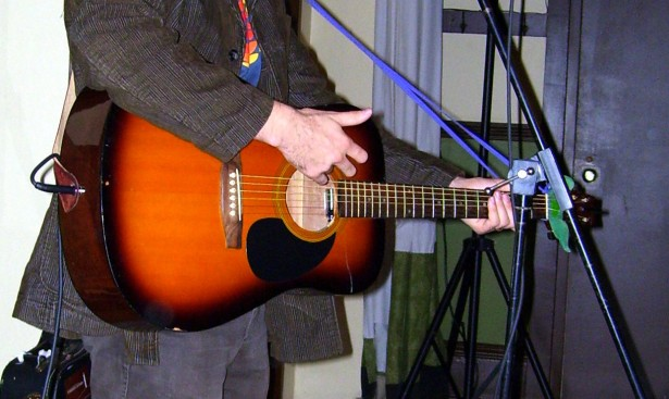 The original acoustic guitar, during a soundcheck in Kemptville